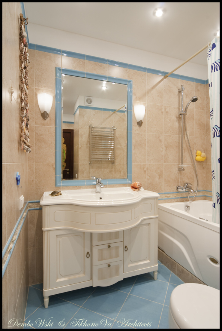 Квартира в стиле классического Арт Нуво Ванная в средиземноморском стиле от D&T Architects Средиземноморский