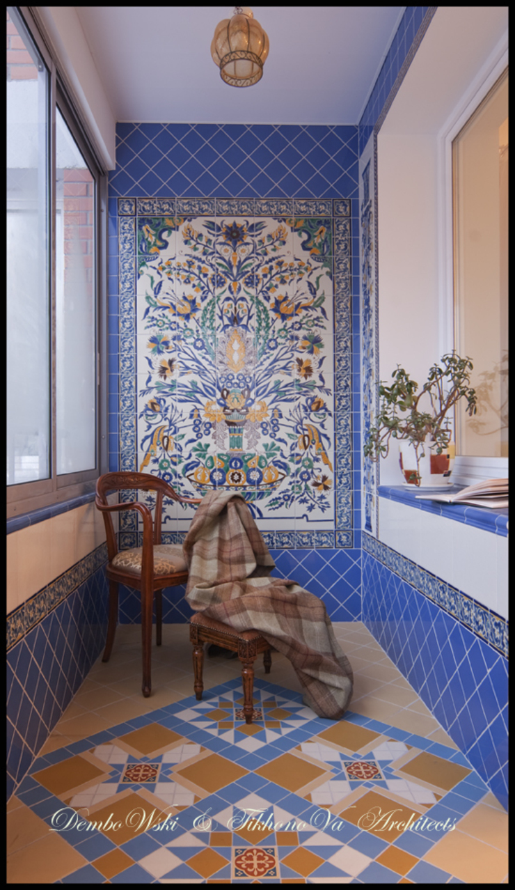 Квартира в стиле классического Арт Нуво Терраса в колониальном стиле от D&T Architects Колониальный