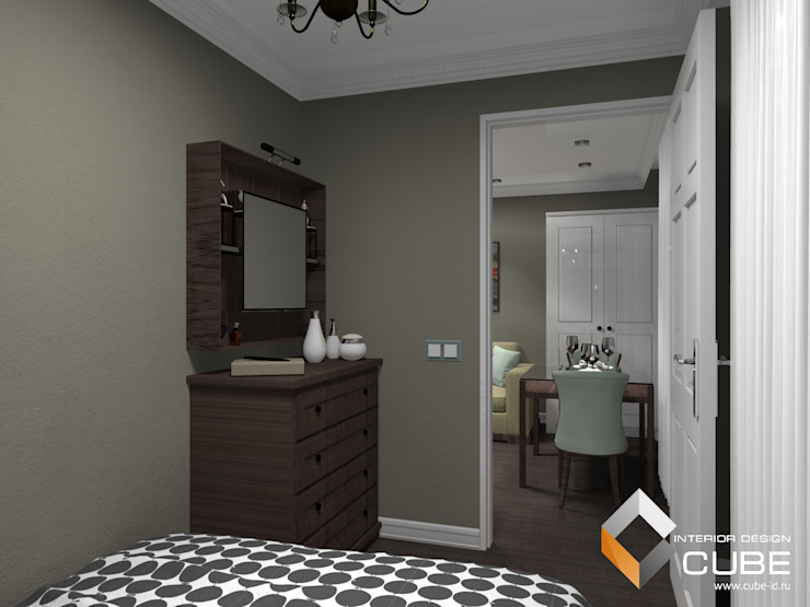 Дизайн малогабаритной квартиры Спальня в колониальном стиле от Лаборатория дизайна 'КУБ' Колониальный