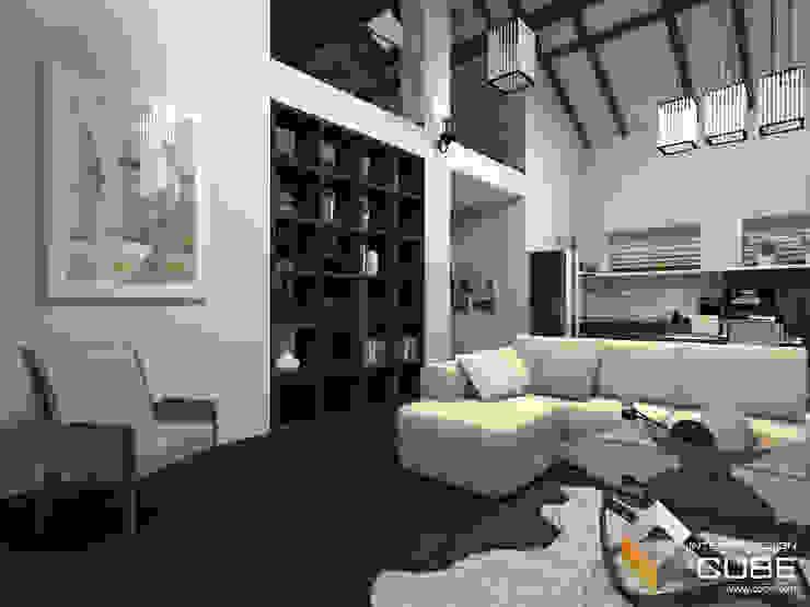 Дизайн кухни-гостиной загородного дома Гостиная в стиле минимализм от Лаборатория дизайна 'КУБ' Минимализм