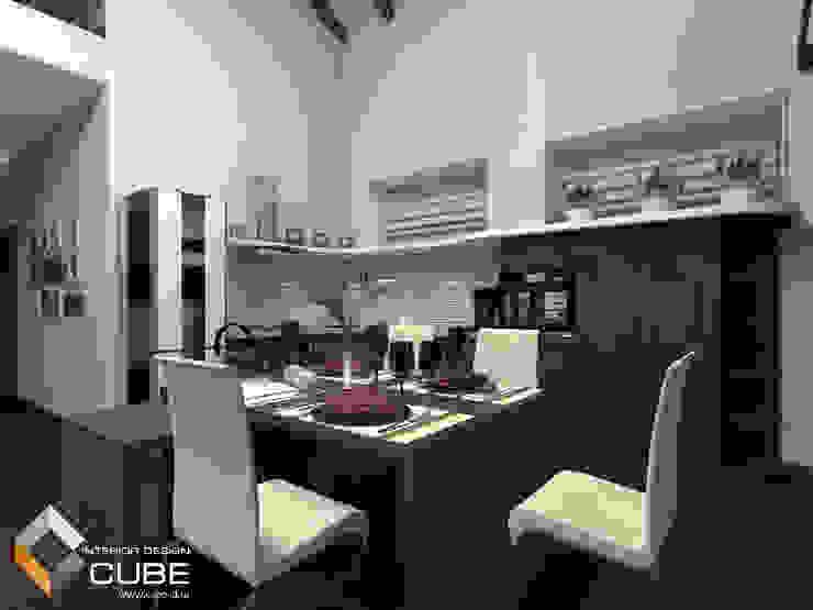 Дизайн кухни-гостиной загородного дома Кухня в стиле минимализм от Лаборатория дизайна 'КУБ' Минимализм