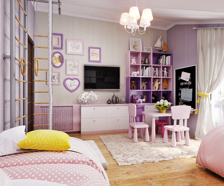 Детская комната для двух девочек Студия дизайна ROMANIUK DESIGN Детская комната в стиле модерн