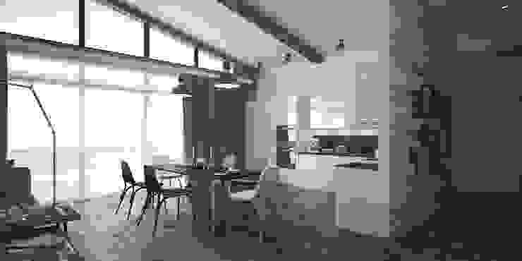 Лофт, гостиная+кухня Гостиная в стиле лофт от Мастерская архитектуры и дизайна FOX Лофт