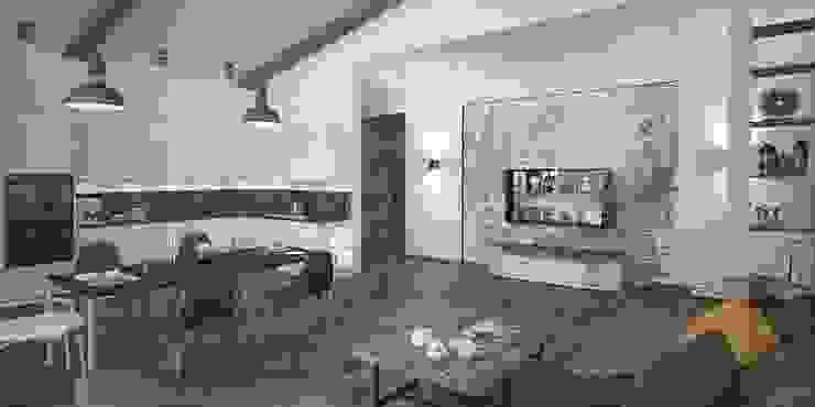Лофт, гостиная+кухня Кухня в стиле лофт от Мастерская архитектуры и дизайна FOX Лофт