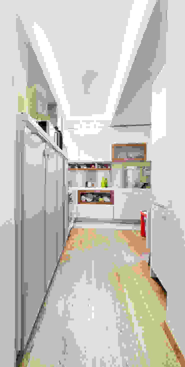 Cuisine moderne par 23bassi studio di architettura Moderne Bois Effet bois