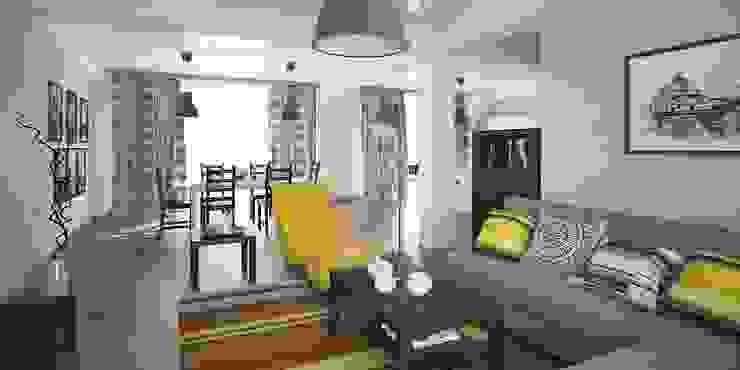 Интерьер таунхауса, 183 кв. м. (3 этажа) Гостиная в стиле модерн от Мастерская архитектуры и дизайна FOX Модерн
