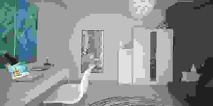 Интерьер таунхауса, 183 кв. м. (3 этажа) Спальня в стиле минимализм от Мастерская архитектуры и дизайна FOX Минимализм