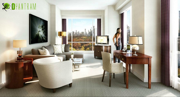 Tagesansicht Residential Interior 3D-Rendering Wohnzimmer Architectural Design Studio Modern living room