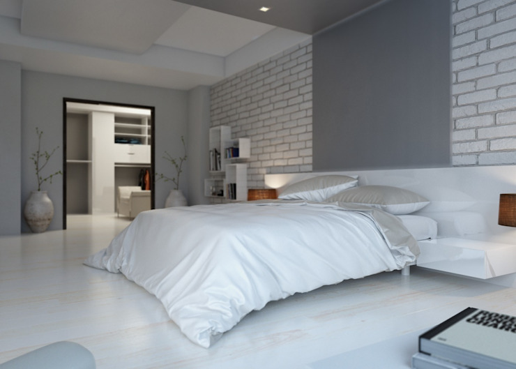 Bedroom View Modern Yatak Odası ROAS ARCHITECTURE 3D DESIGN AGENCY Modern