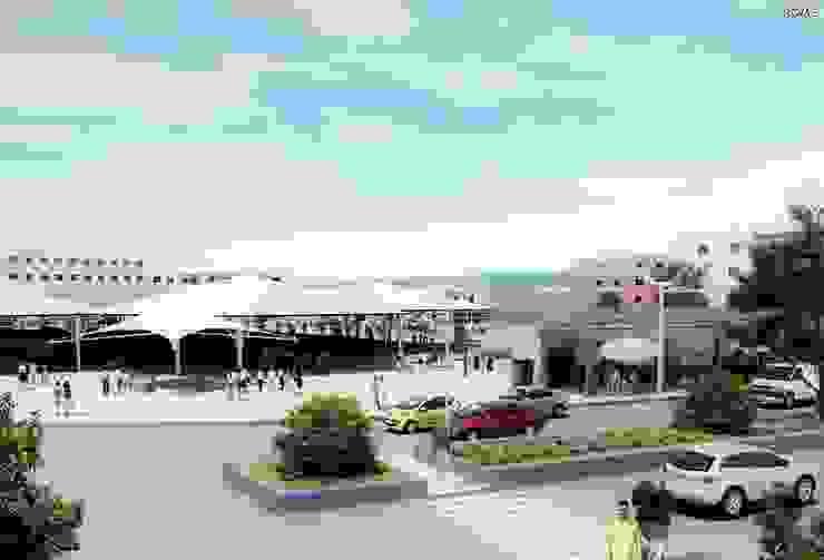 Commercial Shops Detail Minimalist Balkon, Veranda & Teras ROAS ARCHITECTURE 3D DESIGN AGENCY Minimalist