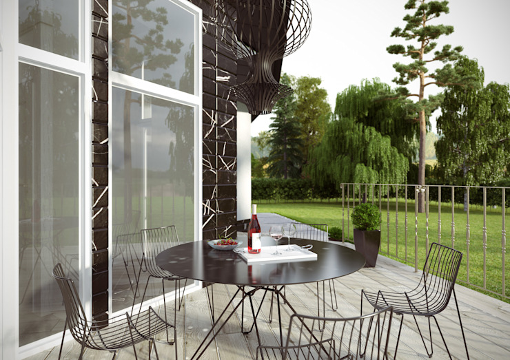 Загородный дом в поселке <q>Европейский</q> Балкон и терраса в стиле модерн от Architectural Bureau DAOFORM Модерн
