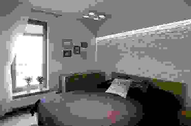 Beton udomowiony – czyli nowoczesne mieszkanie w Krakowie. Nowoczesna sypialnia od ARTEMA PRACOWANIA ARCHITEKTURY WNĘTRZ Nowoczesny