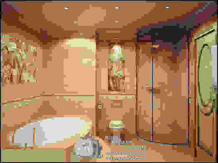 Круглая ванна и душевая кабина в интерьере ванной комнаты Ванная комната в стиле модерн от Бюро домашних интерьеров Модерн