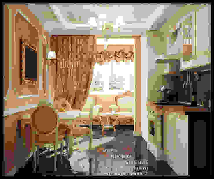 Роскошь золотистой отделки в интерьере кухни-столовой Кухня в стиле модерн от Бюро домашних интерьеров Модерн
