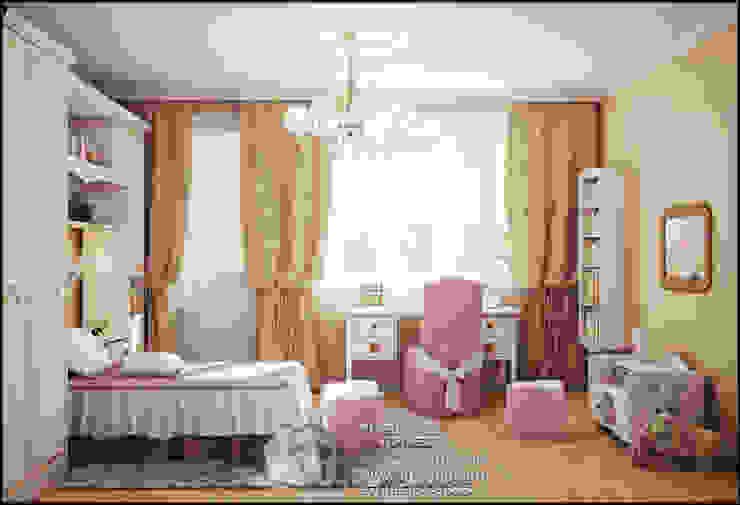 Розовые и бежевые оттенки в интерьере детской комнаты для девочки Детская комната в стиле модерн от Бюро домашних интерьеров Модерн