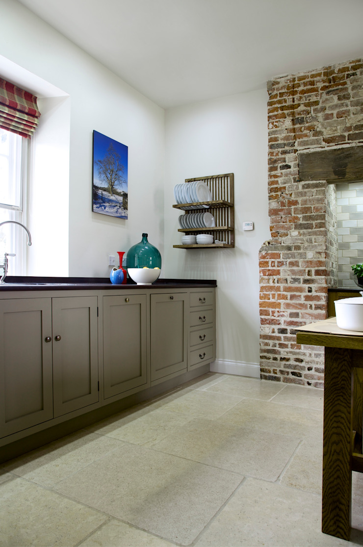 The Great Lodge | Large Grey Painted Kitchen with Exposed Brickwork Humphrey Munson Kitchen