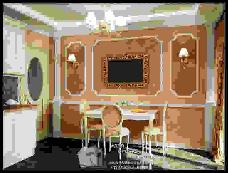 Столовая зона кухни с античными мотивами Столовая комната в стиле модерн от Бюро домашних интерьеров Модерн