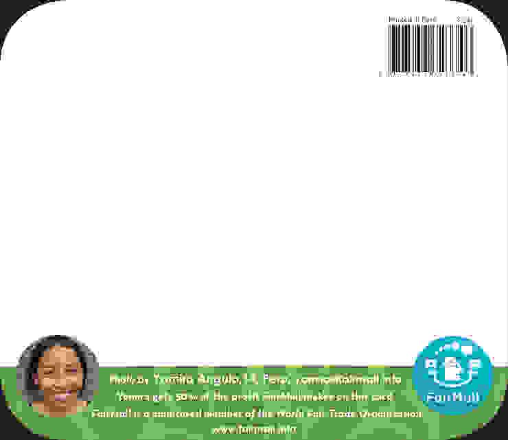 Achterkant van een FairMail wenskaart van FairMail Tropisch