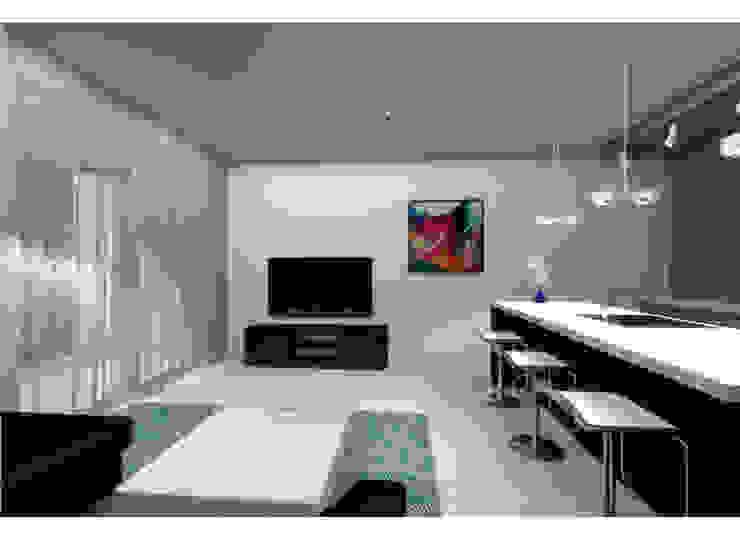 Гостиная совмещенная с кухней Гостиная в стиле минимализм от АМСД Минимализм