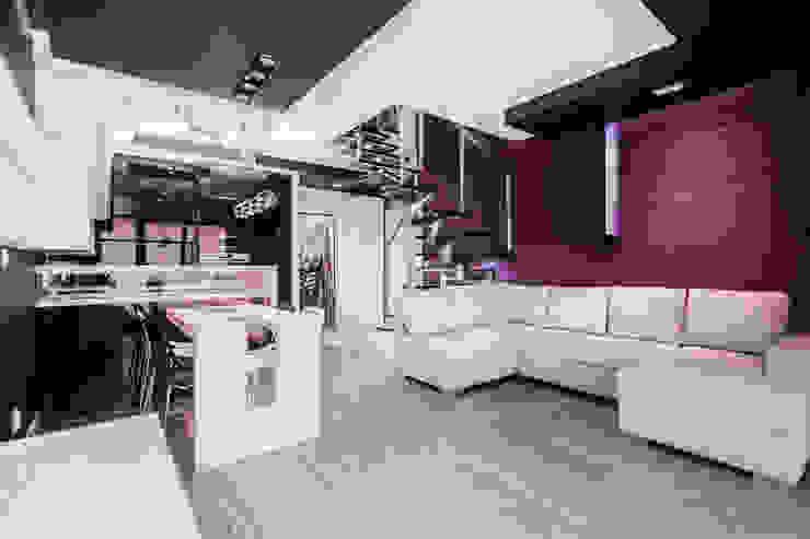 Apartament Dwupoziomowy Nowoczesny salon od Tarna Design Studio Nowoczesny