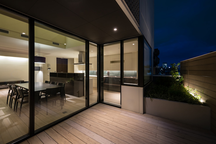 S-HOUSE外観1 モダンデザインの テラス の 3*D空間創考舎一級建築士事務所 モダン