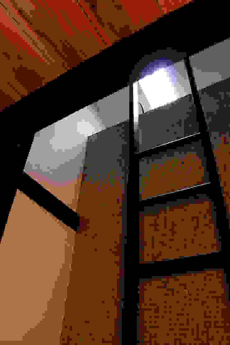 玄関正面のモザイクタイル壁とハシゴ: あお建築設計が手掛けたクラシックです。,クラシック タイル