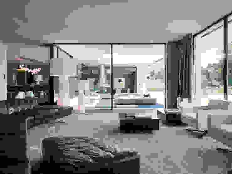 Einfamilienhaus am See Moderne Wohnzimmer von domus mea gmbh Modern