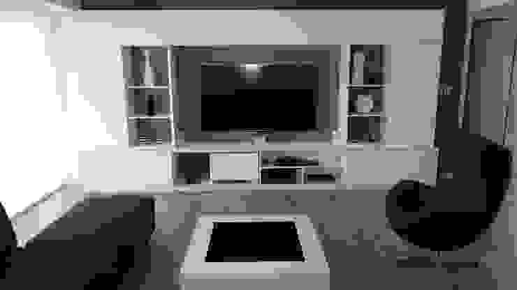 Entre el blanco y el negro los grises se hacen presentes en este living moderno. dymmuebles SalasEstanterías