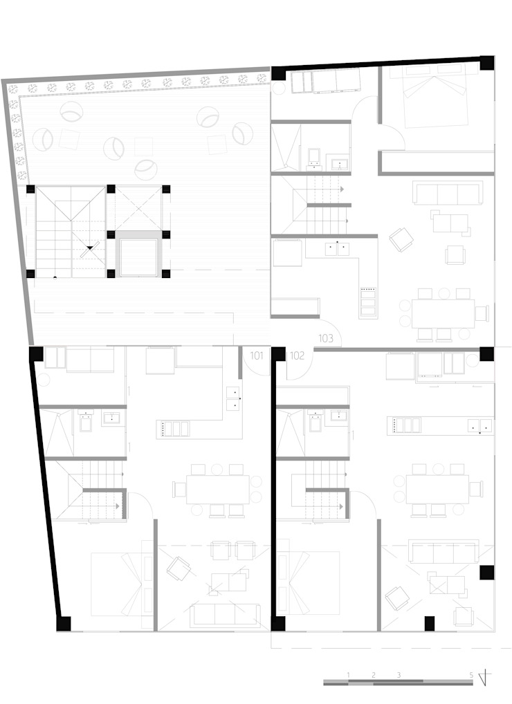 Planta 1:  de estilo industrial por Proyecto Cafeina, Industrial