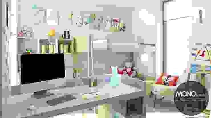 Jasne, przestronne, ale jednocześnie przytulne wnętrza pokoju dla dziecka. Nowoczesna sypialnia od MONOstudio Nowoczesny