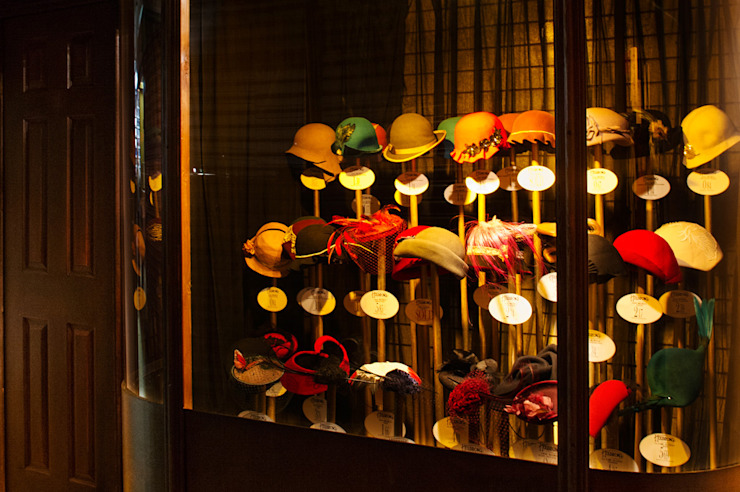 Millinery display window by Traces London Eclectic