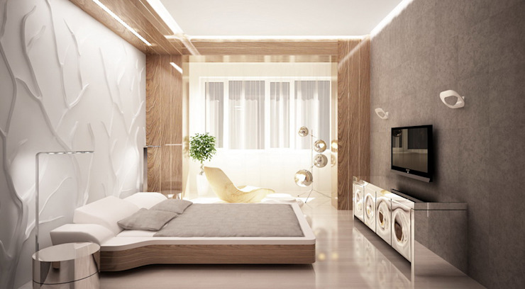 Minimalist bedroom by Студия Максима Рубцова. Minimalist