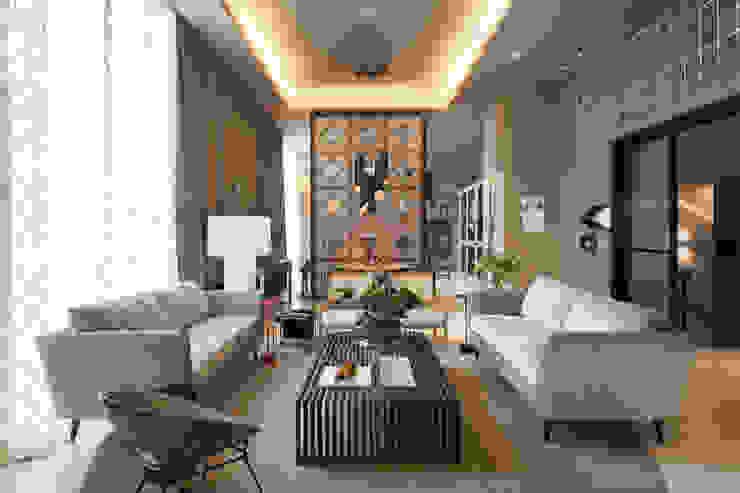 Loft do Casal: Salas de estar  por Denise Barretto Arquitetura,