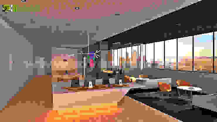 Commercial 3D Interior Design Office Launge: modern  by Yantram Architectural Design Studio, Modern