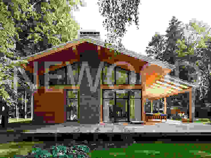 """Дом """"Woodlark"""" - комбинированные конструкции: Дома в . Автор – NEWOOD - Современные деревянные дома,"""