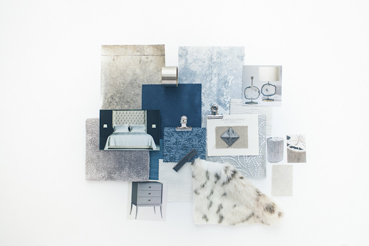 Sample Board - Luxurious Blue Bedroom Lauren Gilberthorpe Interiors