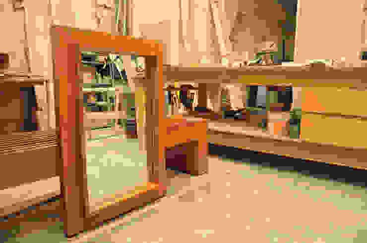 Espejo de Mediamadera Rústico Madera Acabado en madera