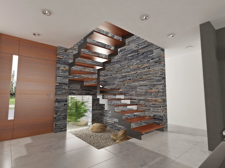 Modern corridor, hallway & stairs by Chazarreta-Tohus-Almendra Modern
