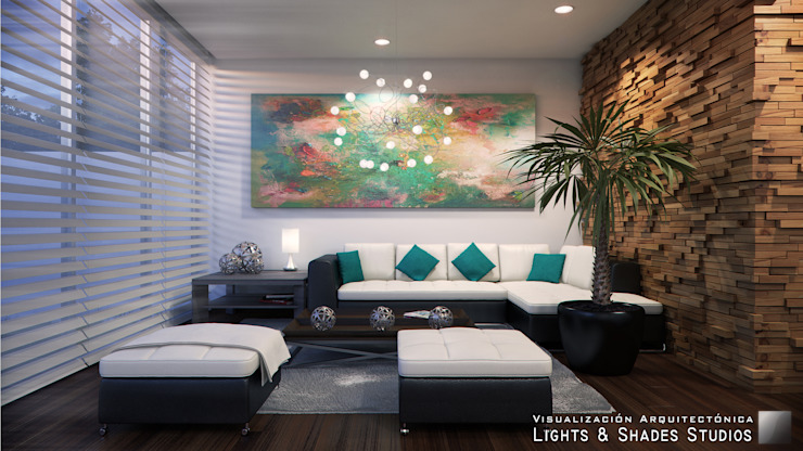 Living Room Livings de estilo moderno de Lights & Shades Studios Moderno