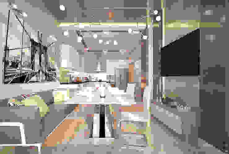 """Дизайн кухни в современном стиле в ЖК """"Новый город"""" (Краснодар) Кухня в стиле модерн от Студия интерьерного дизайна happy.design Модерн"""