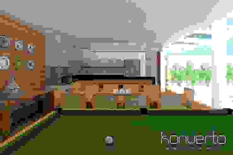 Espaço Gourmet, piscina e fachada – Residência RJ Varandas, alpendres e terraços modernos por Konverto Interiores + Arquitetura Moderno