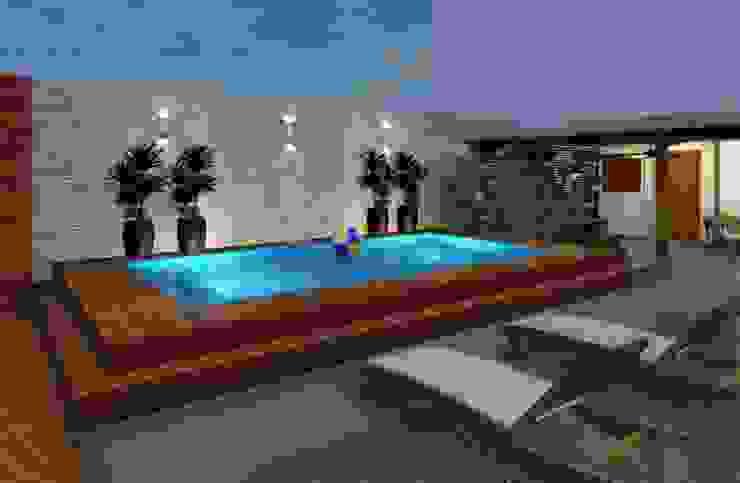 Espaço Gourmet, piscina e fachada – Residência RJ Piscinas modernas por Konverto Interiores + Arquitetura Moderno