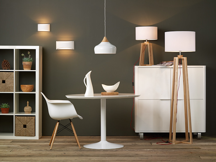 A Contemporary White and Light Pine Set: modern  by Shine Lighting Ltd, Modern