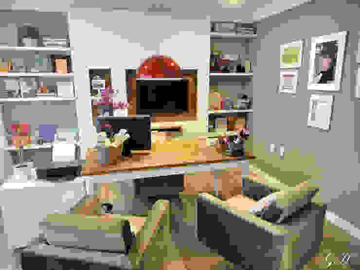 Rustic style study/office by Gabriela Herde Arquitetura & Design Rustic Engineered Wood Transparent