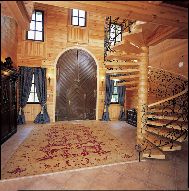 ELK Fertighaus GmbH Rustic style corridor, hallway & stairs