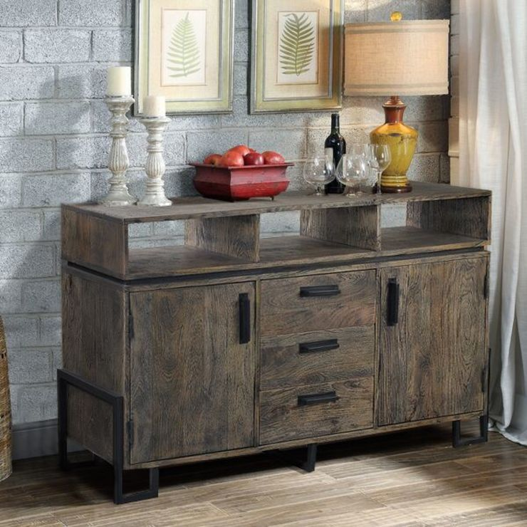 METAL & WOOD SIDEBOARD: industrial  by The Yellow Door Store,Industrial Solid Wood Multicolored