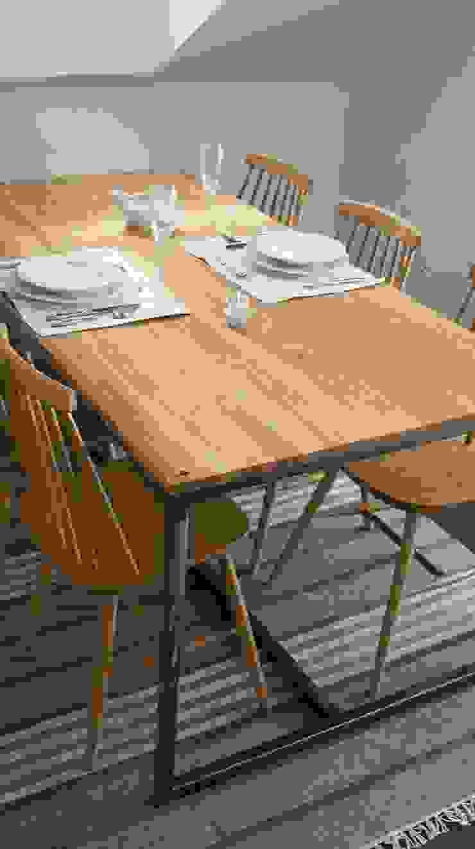 Stół, biurko, Industrial Dining Oak od projekt drewno Industrialny Drewno O efekcie drewna