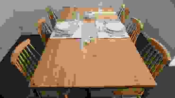 Stół, biurko, Industrial Dining Oak od projekt drewno Skandynawski Drewno O efekcie drewna