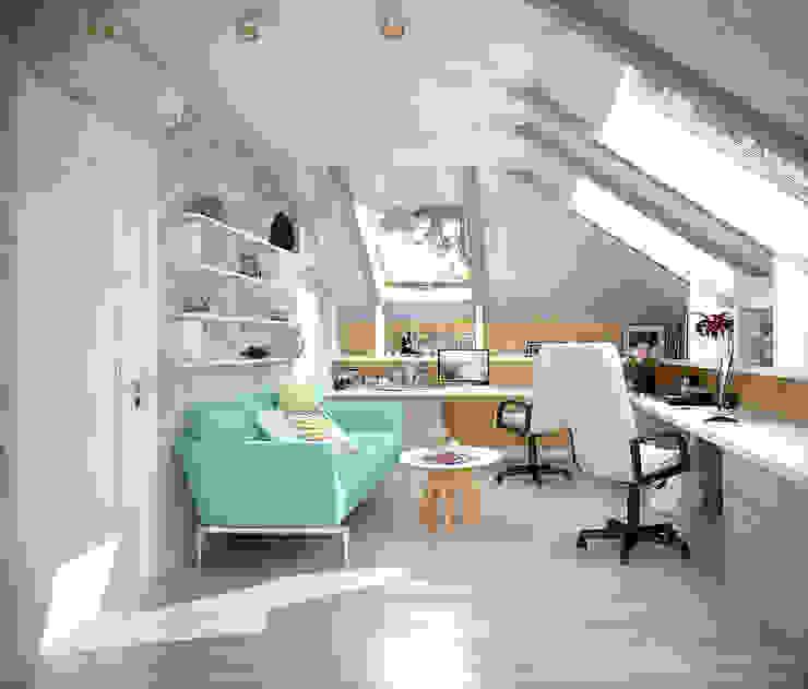 Дизайн кабинета на мансарде в современном стиле в частном доме по ул.Российской Рабочий кабинет в средиземноморском стиле от Студия интерьерного дизайна happy.design Средиземноморский