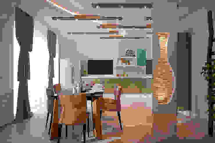 Дизайн кухни в средиземноморском стиле в частном доме по ул. Российской Кухня в средиземноморском стиле от Студия интерьерного дизайна happy.design Средиземноморский
